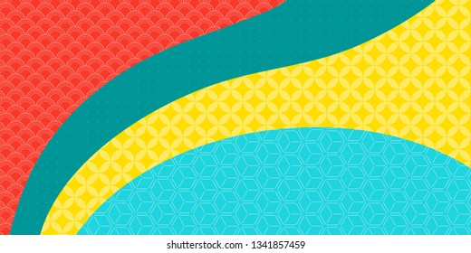 Chinese New Year background with bright traditional eastern patterns, pink, blue, green, yellow. Vector illustration. Flat style design. Concept for holiday banner, decor element, greeting card.