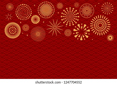 Chinese New Year background with golden fireworks on red traditional pattern. Vector illustration. Flat style design. Concept for holiday banner, greeting card, decorative element.