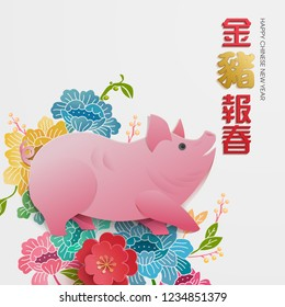 "Chinese new year background. Year of the pig. ""Jin zhu bao chun"" Golden pig sending regard."