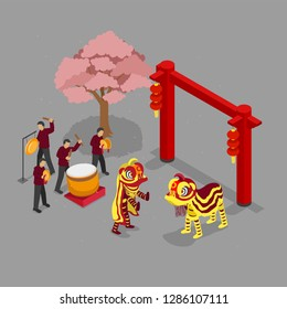 Chinese New Year Barongsai attraction in isometric perspective