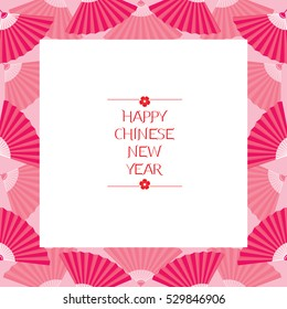 chinese new year border with fan traditional celebration china frame