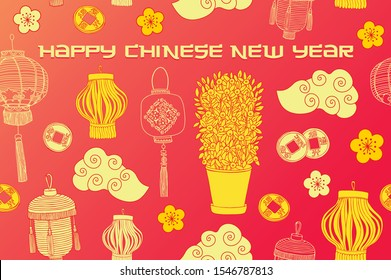 Chinese new year card. Banner in bright colours.