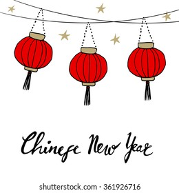 Chinese new year card with hand drawn paper lanterns and handwritten text, vector illustration background