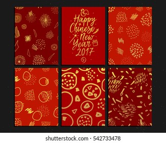 Chinese New Year cards collection with hand drawn calligraphy. Happy new year card. Golden seamless patterns with typography. Vector illustration.