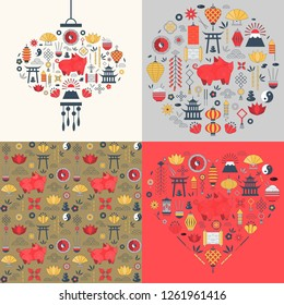 Chinese New Year cards with elements in heart shape, asian lantern and circle. China Spring Festival 2019 greeting postcards with pig, lotus, lanterns, fireworks, coins and traditional ornaments.