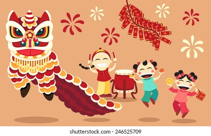 Chinese New Year celebration with lion dance and happy children.