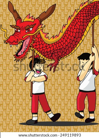 chinese new year concept dragon dance vector