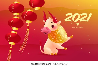 Chinese new year congratulation card, invitation, calendar design with traditional decor lantern elements, oriental animal bull mascot character in floral ornament on red backdrop. Vector illustration