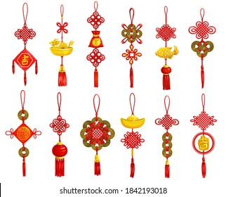Chinese New Year decoration and ornament vector icons. Lunar New Year and Asian Spring Festival red knots with coins, golden fish, fortune lantern and tassels, gold ingot, dragon and calligraphy