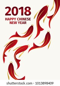Chinese new year design poster.  Greeting card with red and gold fish. Red, white and gold asian traditional design.