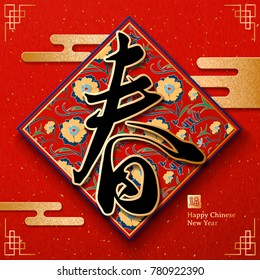 Chinese new year design, vintage spring word written in calligraphy on the floral couplet with golden cloud pattern, fortune in the Chinese word