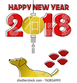 Chinese New Year of the dog 2018 modern line art greeting card with asian lamp, puppy and gold color typography. EPS10 vector.