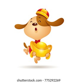 Chinese New Year. Dog character design with chinese gold. Traditional Chinese Costume. The year of the dog.