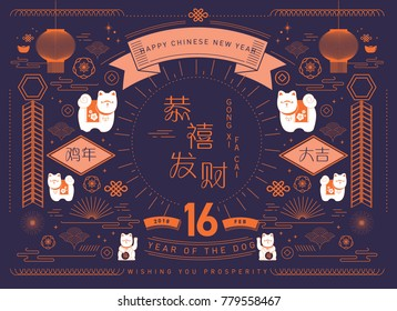 chinese new year of the dog greetings template vector/illustration with chinese characters that mean 'wishing you prosperity', 'blessing' & 'happy new year'