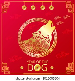 Chinese new Year of dog zodiac symbol ,Design for greeting cards, calendars, banners, posters, invitations.