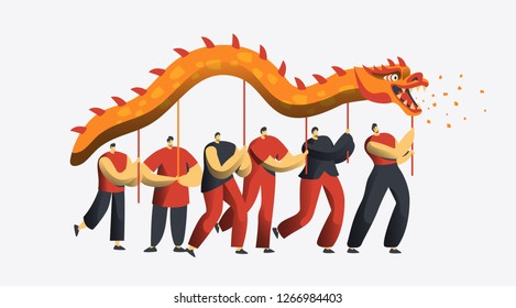 Chinese New Year Dragon Dance Parade. Asia Lunar Holiday People Character at Festive Party Isolated for Invitation Card. Happy Man Celebrate Concept for Postcard Flat Cartoon Vector Illustration