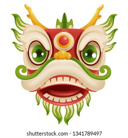 Chinese New Year Dragon  Dance Head. Mascot for lucks year China  New Year.  Cartoon vector illustration isolated on a white background.