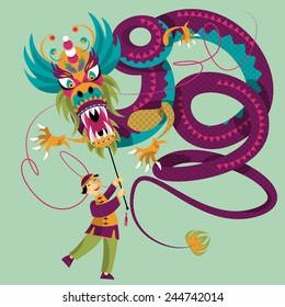 Chinese New Year. Dragon dance. Vector illustration