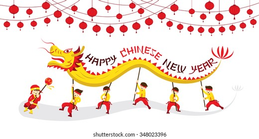 Chinese New Year, Dragon Dancing, Traditional Celebration