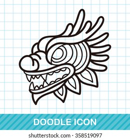 Chinese new year dragon and lion dancing head doodle