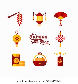 Chinese new year element collection. Modern Chinese or Japanese collection set. Idea for Chinese new year day, celebration, traditional, etc. Vector illustration.