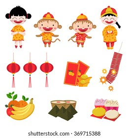 Chinese new year elements isolated on white background, illustration, vector