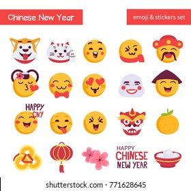 Chinese new year emoji set. Holiday emoticon  and stickers collection. Flat style vector illustration isolated on white background.