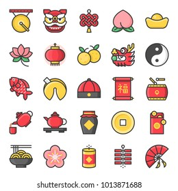 Chinese new year filled outline cute icon, 128 px on grid system
