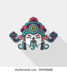 Chinese New Year flat icon with long shadow, eps10, God of wealth