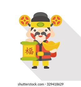 """Chinese New Year God of wealth flat icon; Chinese word means """"fortune and blessing"""""""