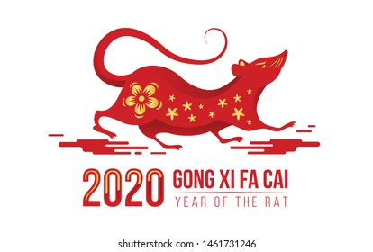 Chinese new year - Gong xi fa cai 2020 year of the rat text and gold flower texture on red art chinese rat zodiac are run on cloud sign vector design