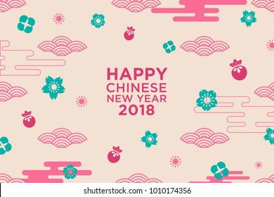 Chinese New Year greeting card with traditional asian patterns, blue oriental flowers,pink peaches fruit and pink clouds . Vector illustration.