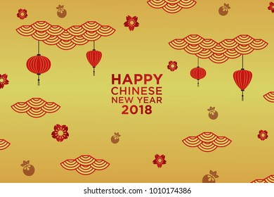Chinese New Year greeting card with traditional asian patterns. Asian Lantern, Clouds and Patterns in Modern Style, geometric ornate shapes, red and gold Vector illustration.