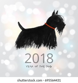 Scottish new year images stock photos vectors shutterstock chinese new year greeting card with a dog on white glowing background symbol of the m4hsunfo