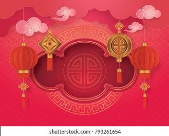Chinese New Year Greeting Card with Frame border Asian Art Style, Cloud and Hanging Red Lanterns, Paper art vector and illustration