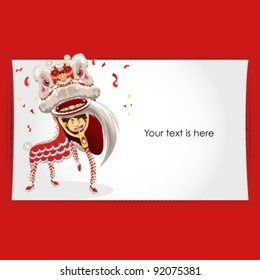 Chinese New Year Greeting Card Lion Dance