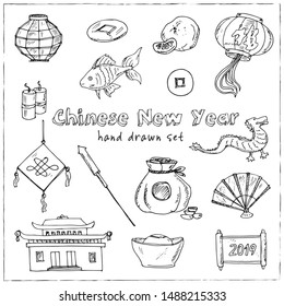 Chinese New Year hand drawn doodle set. Vector illustration. Isolated elements on white background. Symbol collection.
