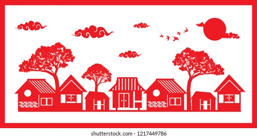 Chinese New Year Hometown houses tree cloud sun red white background