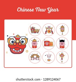 Chinese New Year Icons Set with Outline Filled Style