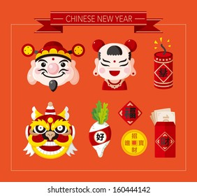 "Chinese New Year icons set,Chinese word ""Happy new year"" ""Congratulatio n"" ""Spring"" ""Blessing"" ;"