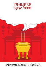Chinese New Year, Joss Stick Pot Sacrifice God, Traditional Celebration