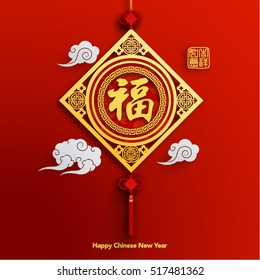 Chinese New Year Lantern Ornament Vector Design (Chinese Translation: Prosperity)