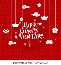 Chinese New Year lettering and Chinese New Year decorative elements. Vector Illustration.