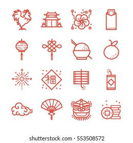 Chinese New Year line icon set. Included the icons as rooster, lion, orange, money, red envelope, cracker and more.