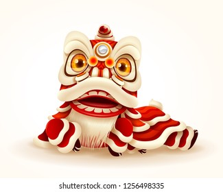 Chinese New Year Lion Dance. Isolated.