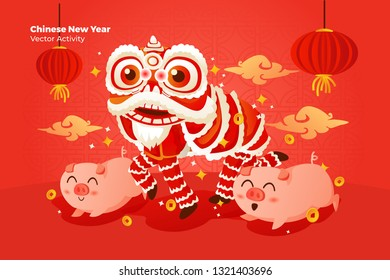 Chinese New Year with Lion Dance - All elements on this template are editable with vector software