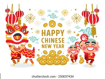 Chinese New Year Lion Dancing concepts - freehand drawing vector Illustration