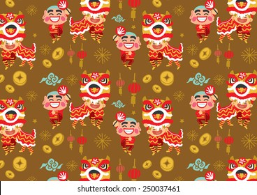 Chinese New Year Lion Dancing pattern - freehand drawing vector Illustration