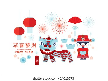 chinese new year / lunar new year elements vector/illustration with chinese character that reads wishing you prosperity / chinese character that reads prosperous