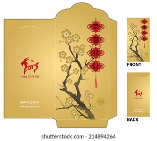 """Chinese New Year Money Packet with Chinese Calligraphy and cherry blossom painting. The chinese character """"Gong Xi Fa Cai"""" means - May Prosperity Be With You."""
